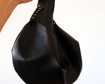 Japanese knot bag, vegan. Small soft black faux leather purse for the eternally best dressed. Gift for eco conscious girlfriend wife lover,