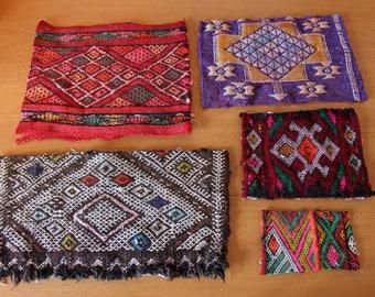 94441d3a8f6 Kilim restant set, gemengde maten tapijt kladjes veel bundel, Marokkaanse  natuurlijke geverfd hand geweven tapijt stukken pack voor naaien projecten.