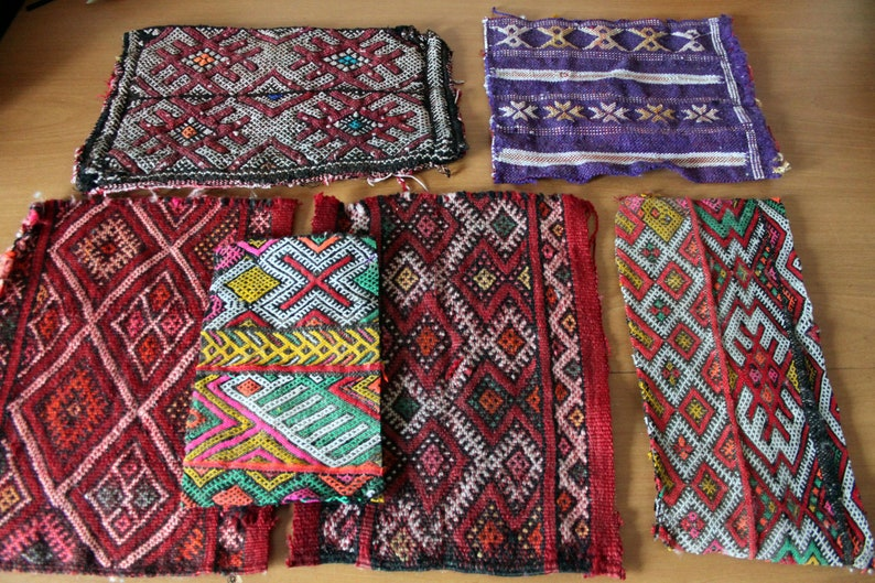 Kilim Carpet Bundle Various Sizes Kelim Remnants Lot Moroccan Hand Woven Rug Pieces Pack For Patchwork Projects And Collage Ready To Ship