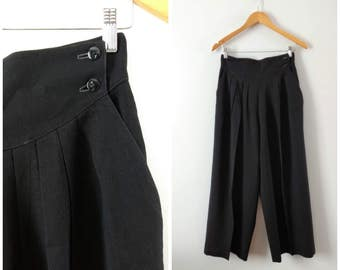 SALE Vintage 1980s black wool high waisted pants, pleated wide leg pants, small