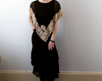 Vintage 1920s silk and lace dress size xs / small