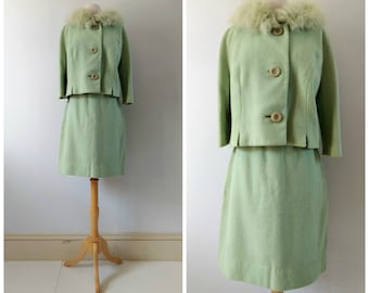 Vintage 1950s 1960s wool suit with fur collar, mint green skirt and jacket, 2 piece skirt set, small / medium