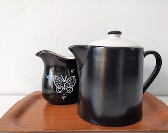 Vintage black ceramic coffee pot tea pot