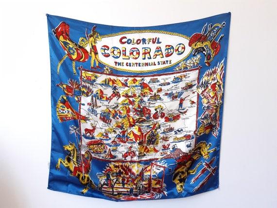 Large vintage Colorado souvenir scarf
