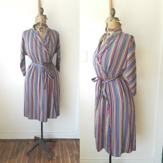 1940s house dress / 1940s 40s clothing / Satin Ho… - image 1