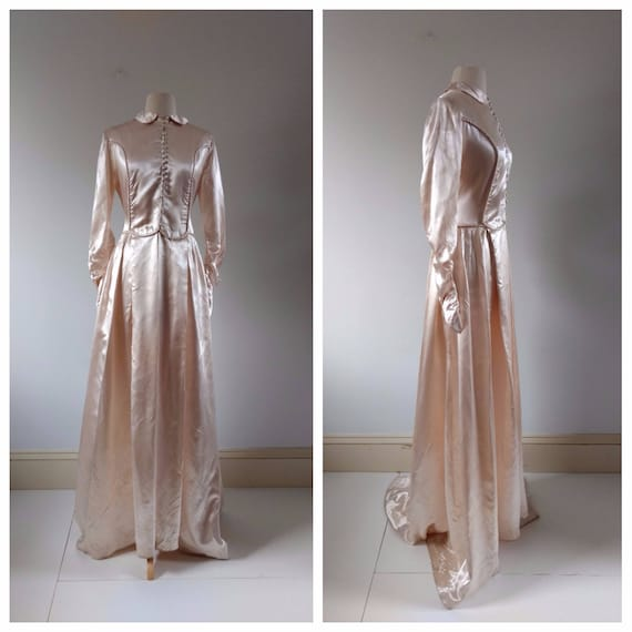 Vintage Wedding Dress Xs: Vintage 1940s Liquid Satin Blush Pink Wedding Dress Xs