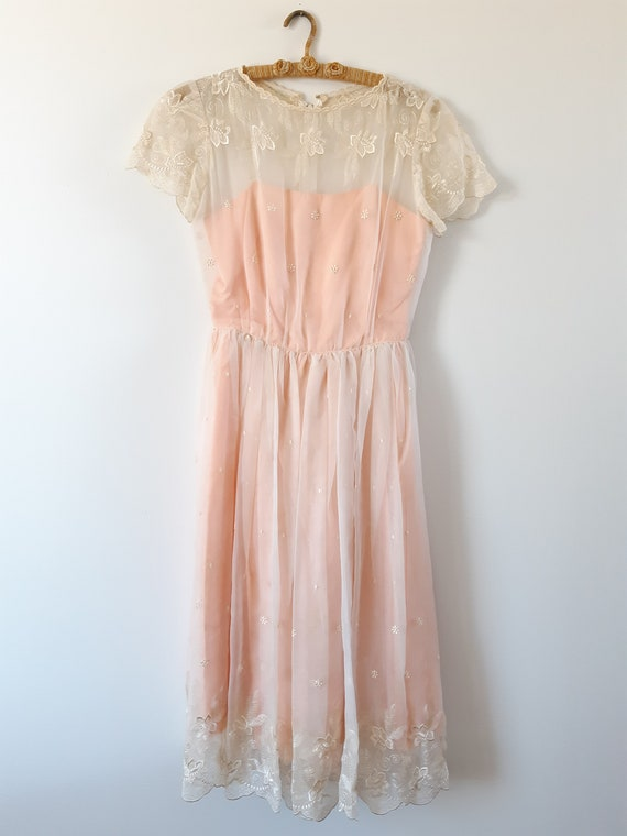 1960s 60s pale pink prom dress xs