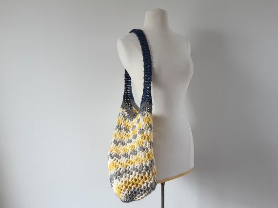 Vintage woven crochet market shoulder tote bag