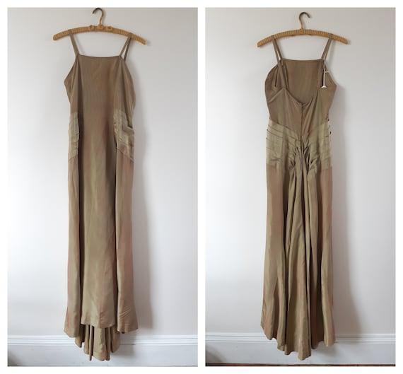 Vintage 1930s 30s silk taffeta gown xs small