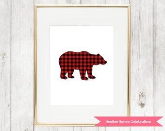 Bear Nursery Print | Printable Woodland Nursery Decor | Red Buffalo Plaid Wall Art Instant Download