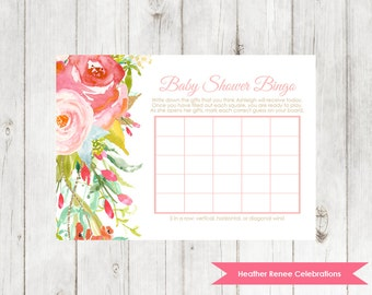 Whimsical Baby Shower Bingo | Printable Baby Shower Game | Floral Bingo Party Game
