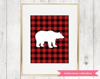 Woodland Nursery Bear Printable | Lumberjack Wall Art | Red Buffalo Plaid Print Instant Download