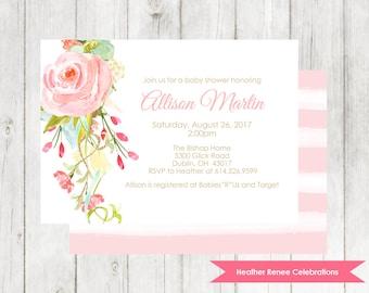 Baby Shower Invitation Printable | Pink Floral Baby Sprinkle Invite | Bohemian Baby Girl Shower Digital File