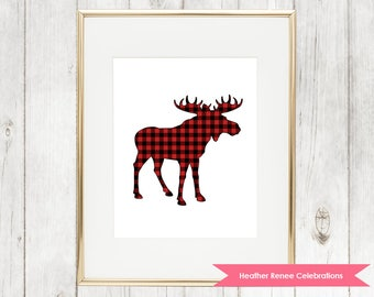 Moose Nursery Print | Printable Woodland Nursery Decor | Red Buffalo Plaid Wall Art Instant Download
