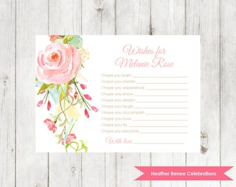 Floral Wishes for Baby | Printable Baby Sprinkle Game | Baby Shower Keepsake