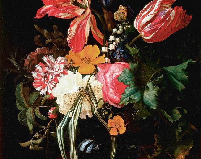 Flower Still Life Botanical Print on Fine Art Paper or Fabric Canvas