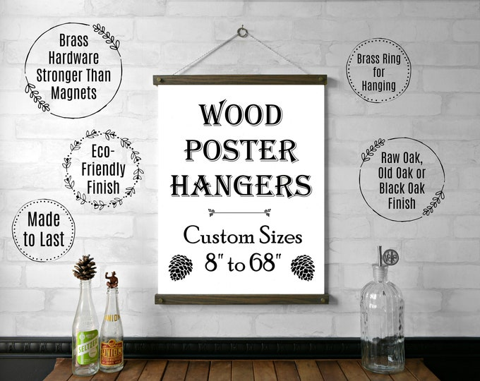 """Wood Poster Hanger 8"""" to 68"""""""