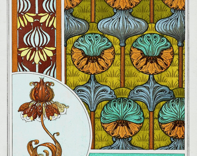 Art Nouveau Crown Imperial Print on Fine Art Paper or Canvas Fabric