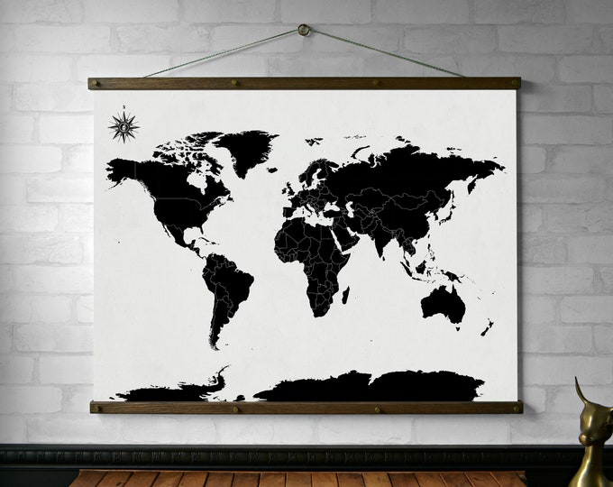 World Map Black and White