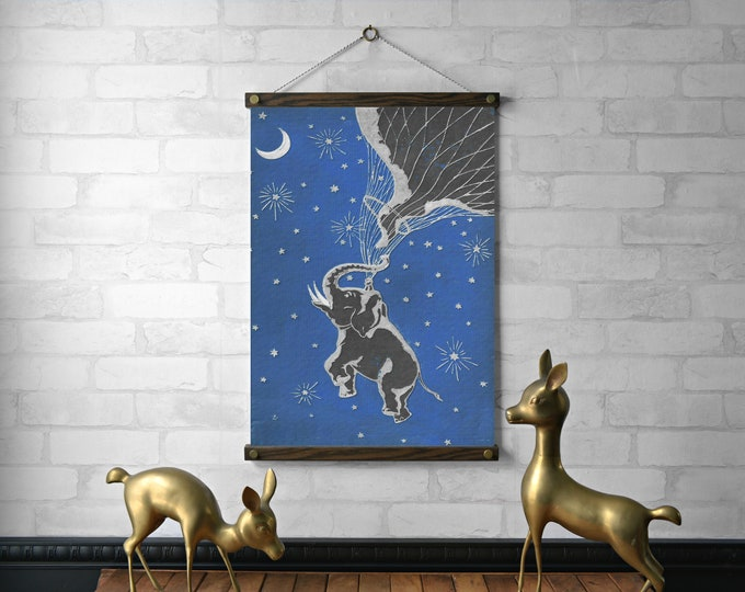 Blue Elephant Book Cover Wall Hanging, Print and Wood Poster Hanger, Pull Down Reproduction with Brass Hardware, Eco-Friendly Art