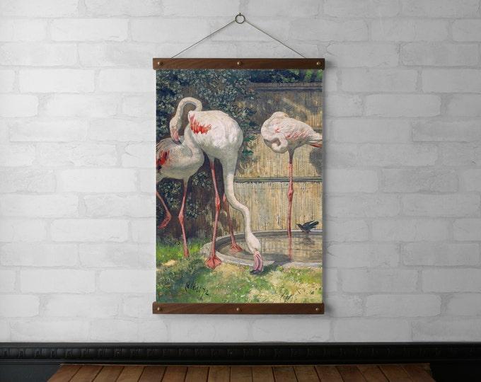 Three Flamingos near a Basin