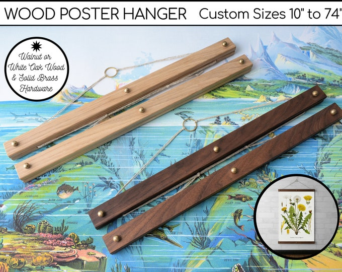 "Wood Poster Hanger for Framing Art, Maps, Prints, Pictures, Tapestries, Real Walnut or White Oak & Brass Hardware  - Custom Sizes 10"" to 74"""