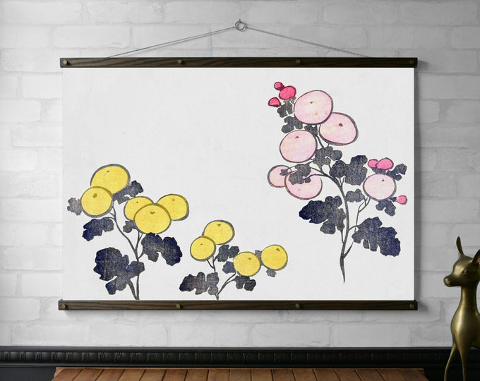 Yellow and Pink Stylized Flowers, Print on Fabric with Wood Poster Hanger Frame, Brass Hardware, Eco Friendly Finish, Japanese Wall Hanging