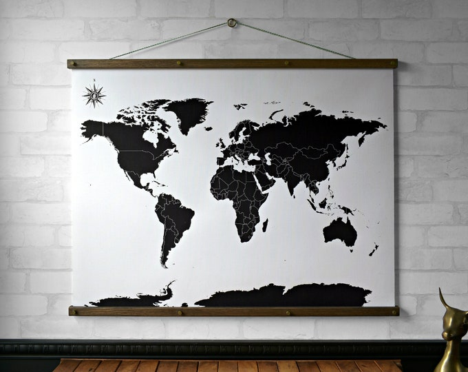 Black & White World Map