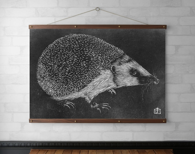 Hedgehog Wall Hanging, Canvas Print, Wood Poster Hanger, Walnut or White Oak w/ Brass Hardware, Ready to Hang Gift, Vintage Art Print Gift