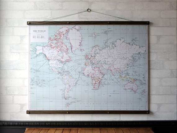 Poster Hangers with Map of the World 1915 Canvas Print Wall Hanging on map mirror, map skirt, map accessories, map of downtown denver rtd, map bag, map scrapbook, map chair, map hwy 224 clackamas 32nd, map plastic,