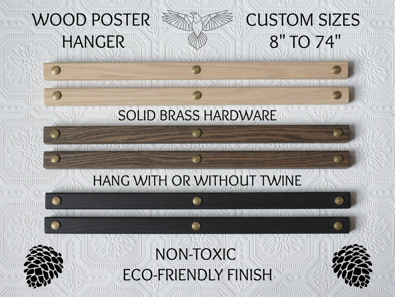 Poster Hanger Wood w/ Brass Hardware for Framing Art Maps image 0