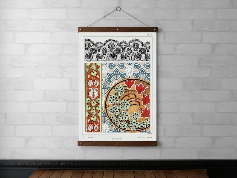 Art Nouveau Cyclamen Botanical Chart Wall Hanging Wood Poster image 0