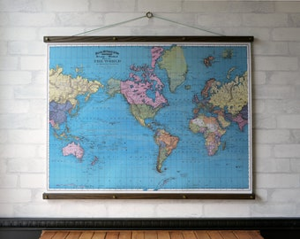 Wall map world etsy world map 1897 vintage pull down school map chart reproduction canvas fabric print gumiabroncs Gallery