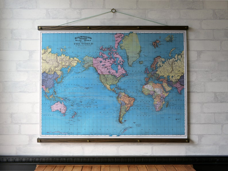 World Map 1897 Vintage Pull Down Map Reproduction Wall Etsy