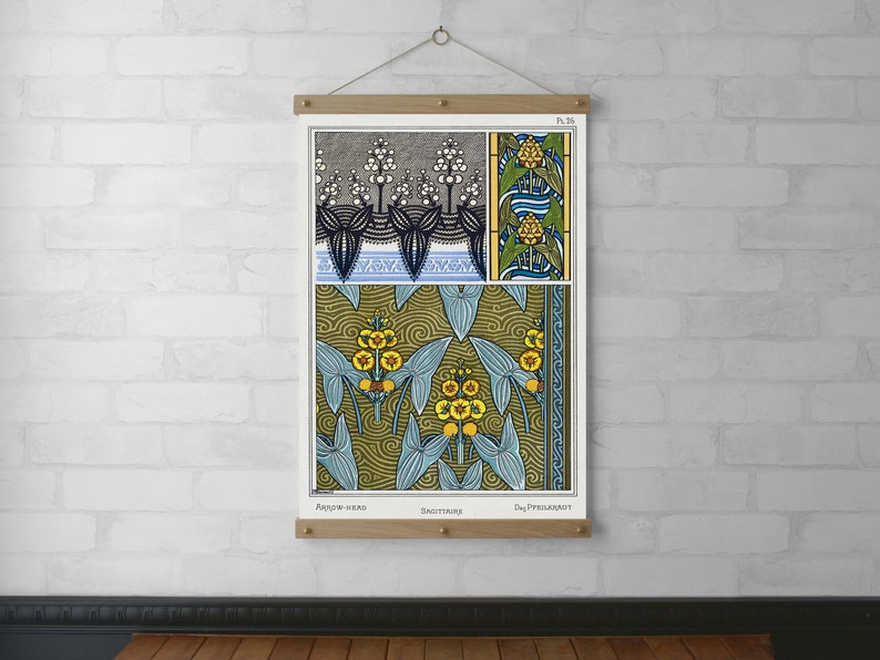 Art Nouveau Sagittaire Botanical Chart Wall Hanging Wood image 0