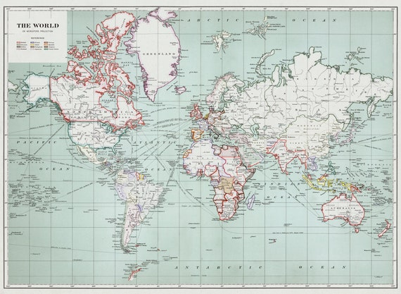 World map 1915 print canvas fabric vintage art etsy gumiabroncs Images