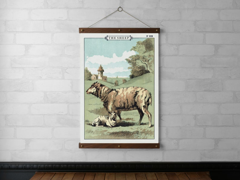 The Sheep Vintage Chart Wall Hanging Wood Poster Hanger image 0