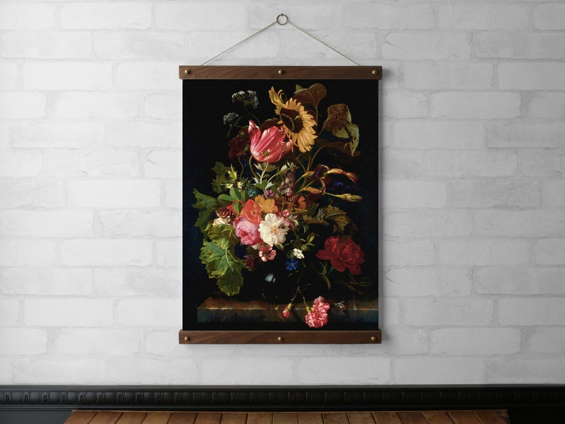 Bouquet of Flowers in a Vase Wall Hanging Canvas Print Wood image 0