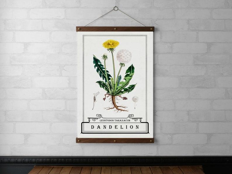 Dandelion Typography Botanical Chart Wall Hanging Wood Poster image 0
