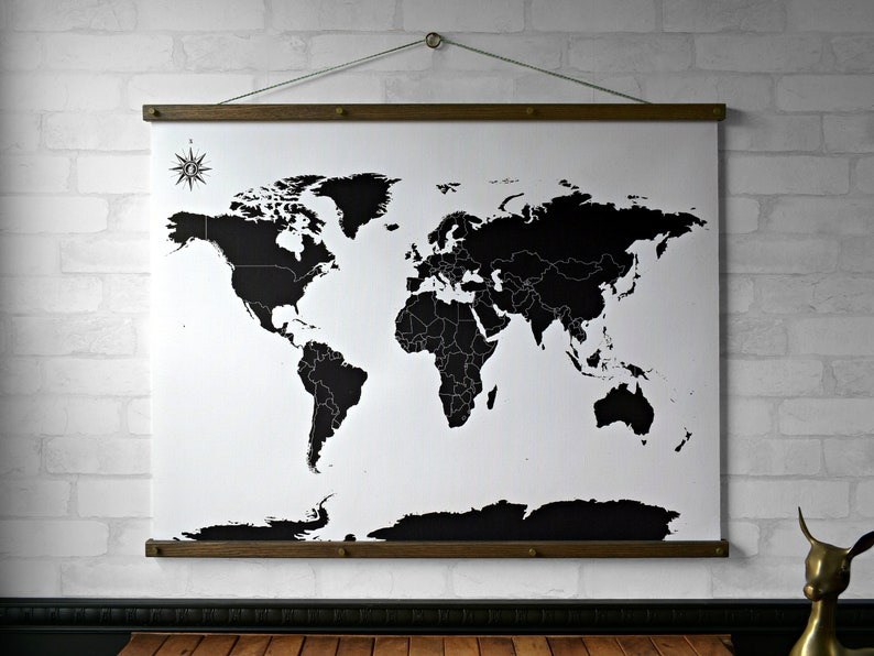 Color Your Own World Map.World Map Black And White Wall Hanging Canvas Print With Etsy