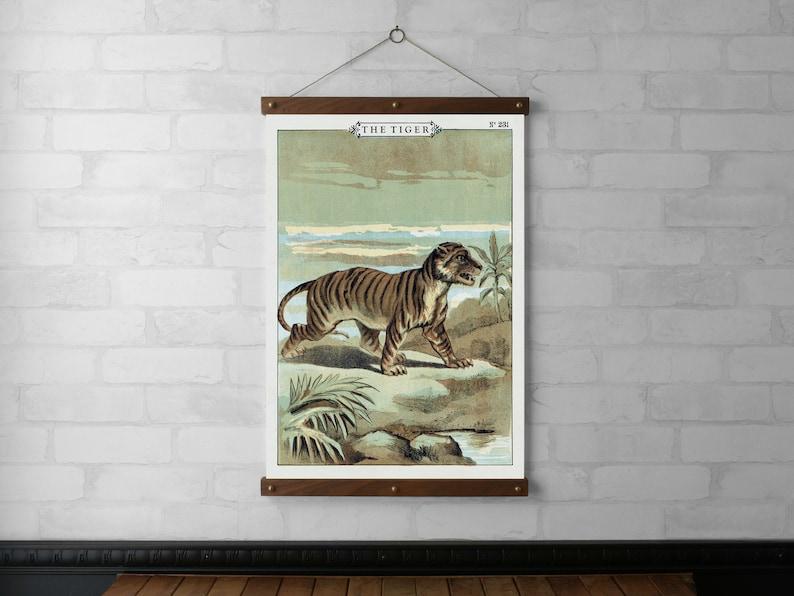 The Tiger Vintage Chart Wall Hanging Wood Poster Hanger image 0
