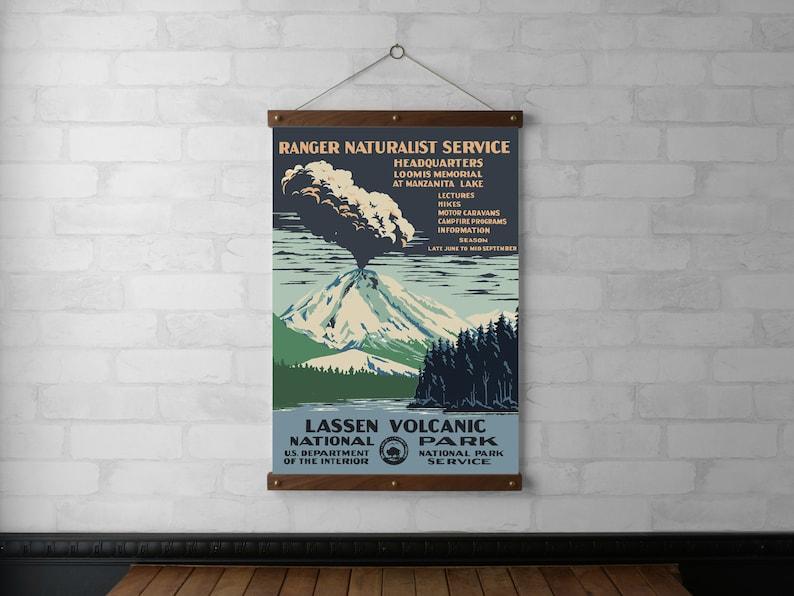 WPA Lassen Volcanic National Park Wall Hanging Canvas Print image 0
