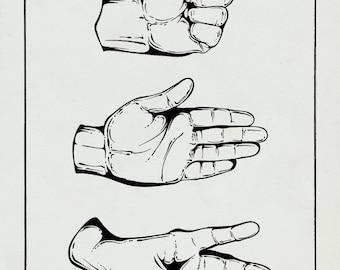 Rock Paper Scissors Print / Canvas Fabric / Vintage Art