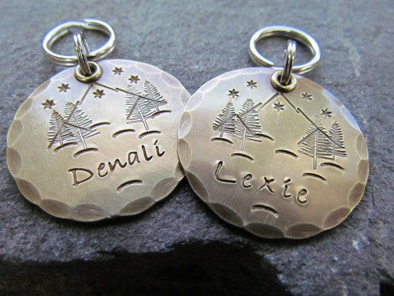 Handmade in USA Personalized Dog ID Tag Hand Stamped Dog Tag