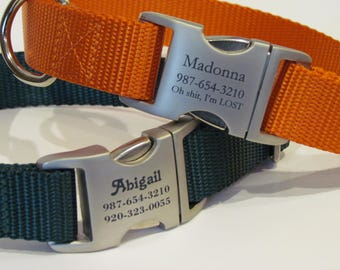 Engraved Dog Collar - Personalized Buckle With Pets Name And Number Adjustable And Hand made In The USA - Custom Dog Collar