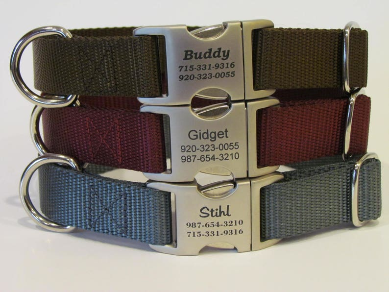Personalized Dog Collar  All Metal Buckle Laser Engraved With image 0