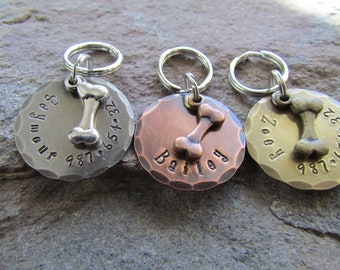 """1"""" Round Pet ID Tag - Pet Tag - Dog Bone Charm - Dog tags for dogs - The Mad Stampers - Custom Dog Tag - Personalized - Pet Accessories"""