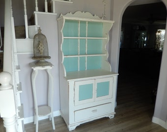 Genial White Hutch Cabinet   Shabby Cottage Chic   Painted Vintage Hutch   Antique  Hutch Cabinet   French Country Style