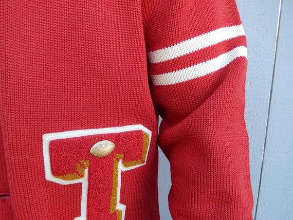 Vintage Football Sweater - 1960s Varsity Cardigan