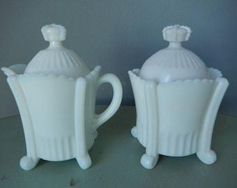 Antique Milk Glass Cream and Sugar - Victorian Milk Glass - Vintage Cream and Sugar - Ornate Milk Glass - Cream and Sugar Set
